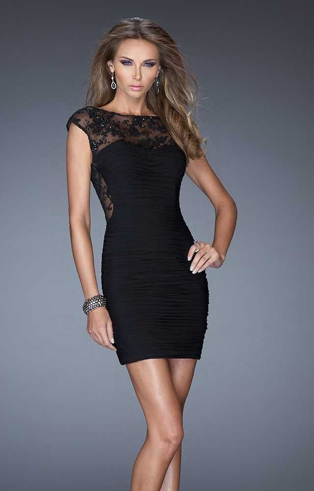 Black Lace and Beaded Short Dress