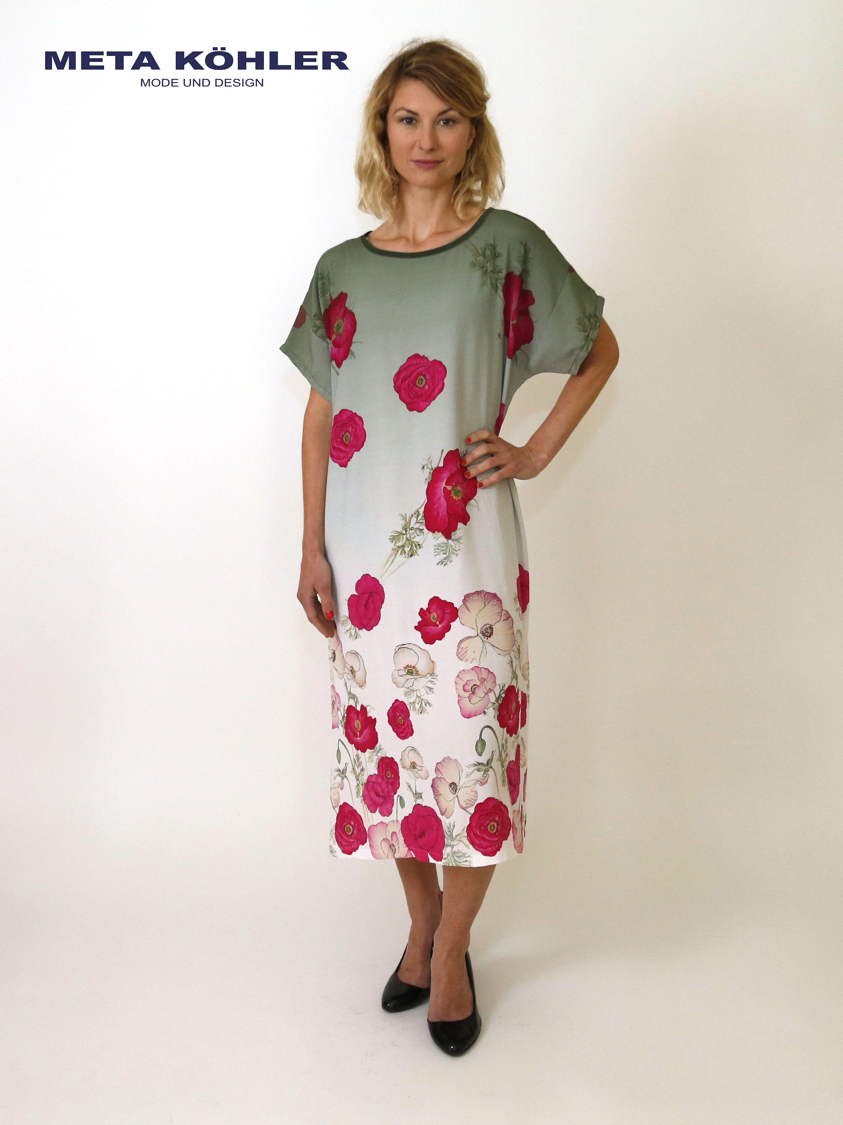 Sommerkleid Mit Mohnblumen Und Farbverlauf Angenehme Trageeigenschaften Leicht Und Luftig Grosse 38 40 Material Viskose Pflege Sommer Kleider Kleider Modestil