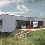 Vue 3D d'une maison Innov'Habitat en ossature bois à haute performance énergétique au design moderne et à l'architecture personnalisée. Maison avec belle double hauteur pour luminosité MAISON BOIS INTÉGRÉE A SON TERRAIN BOISE