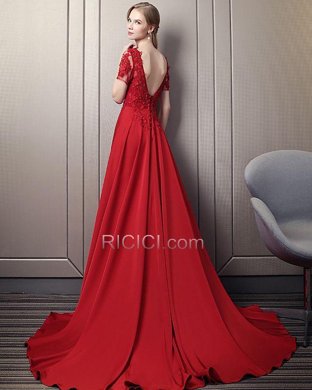 Elegante Prinzessin Spitzen Mit Schleppe Transparentes Abendkleider Ballkleid Rot Satin Ruckenfreies Sommer Lange Ballkleid Rot Ballkleid Kleider Fur Balle