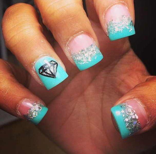 blue glitter tips and diamond