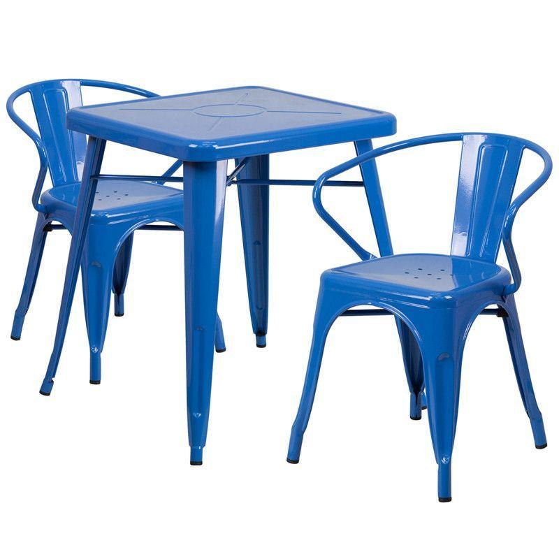 Buy Tolix Metal Indoor-Outdoor Table Set w/2 Arm Chairs at