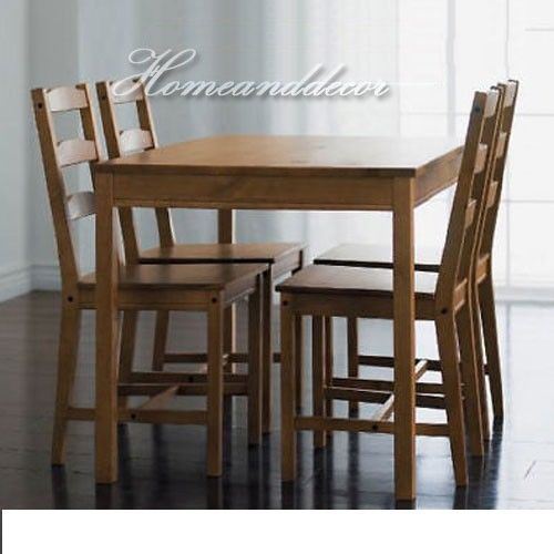 Affordable Dining Room Table Sets: Ikea Wood Dining Table And Chairs Set Solid Brown Pine