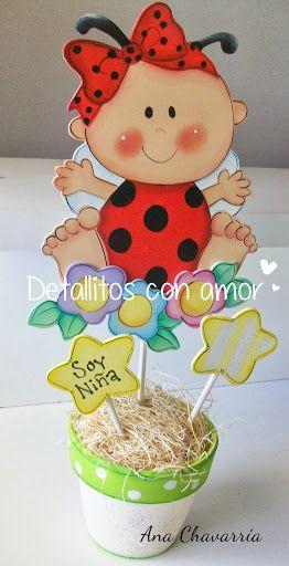 Centro de mesa para baby shower niña ♥ fiesta mariquitas - centros de mesa para baby shower