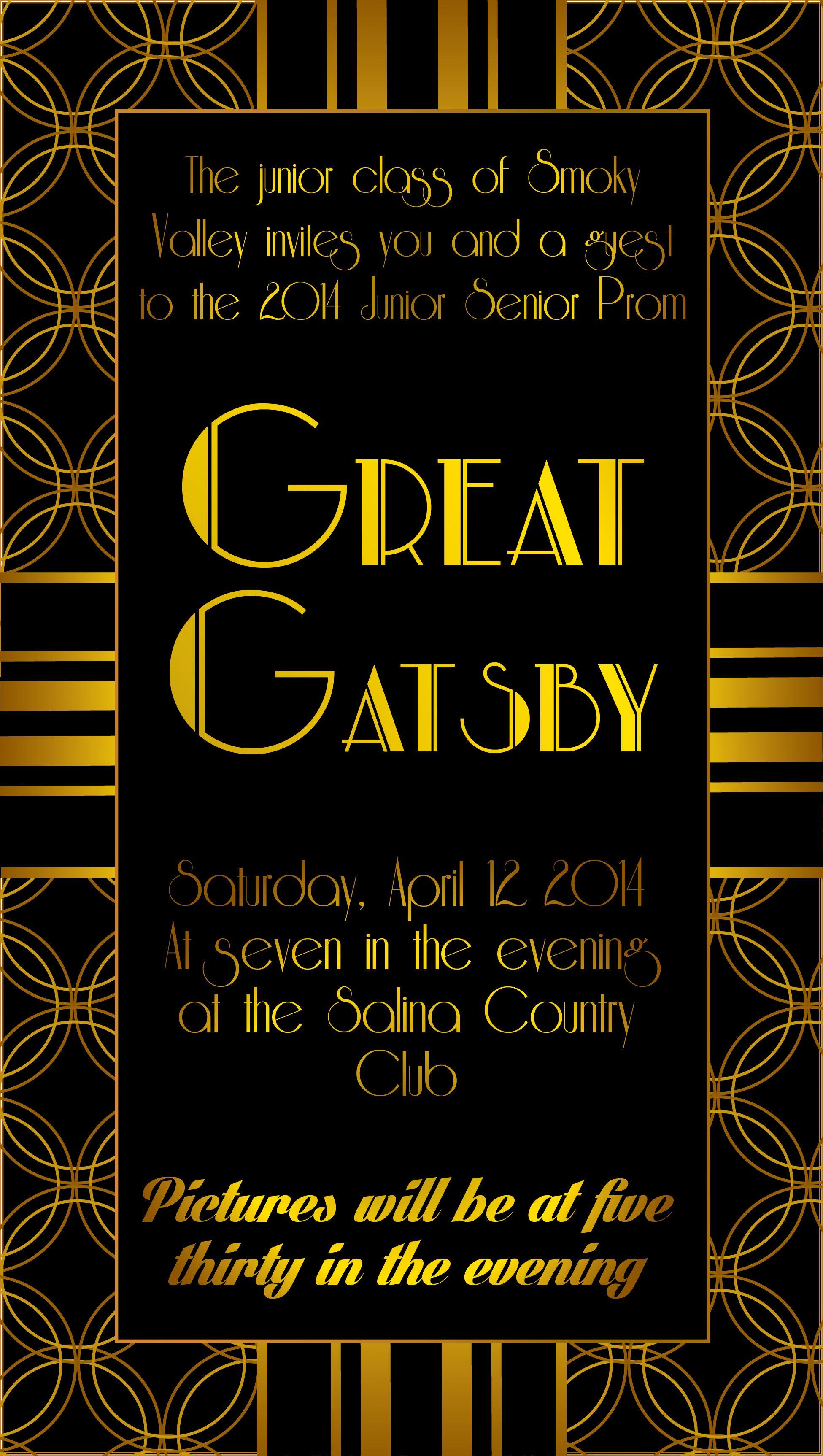 Great Gatsby Prom Invitation Yaaaay Gatsby Prom Gatsby Wedding Invitations Great Gatsby Prom