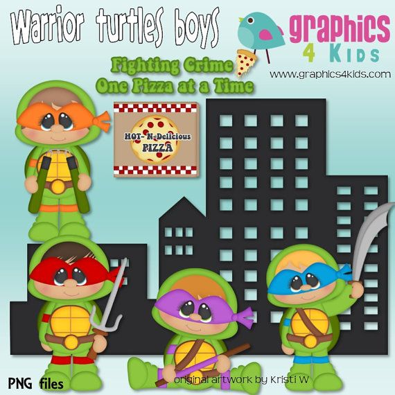 Warrior Turtles boys Ninja Digital Clipart Clip art for