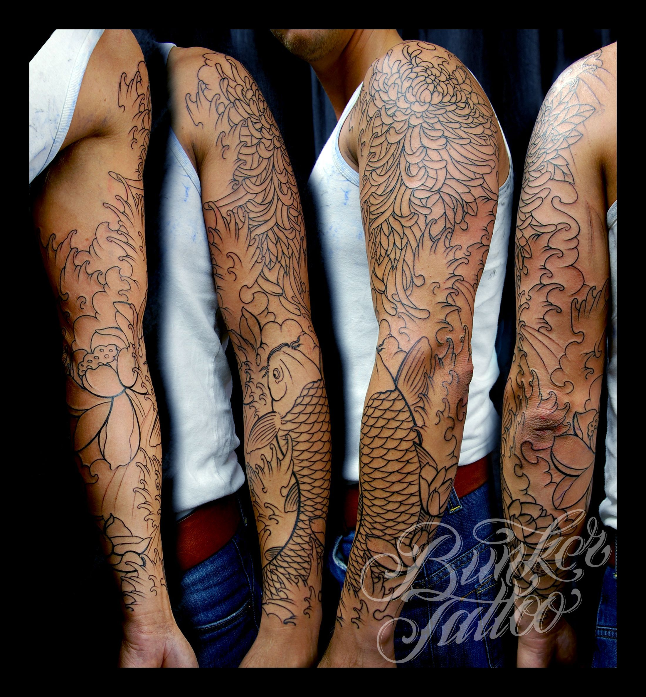 Mike S Koi Sleeve Chest Panel Unfinished Big Jpg 2400 3200: Pin By Michael Michelle On Tattoos