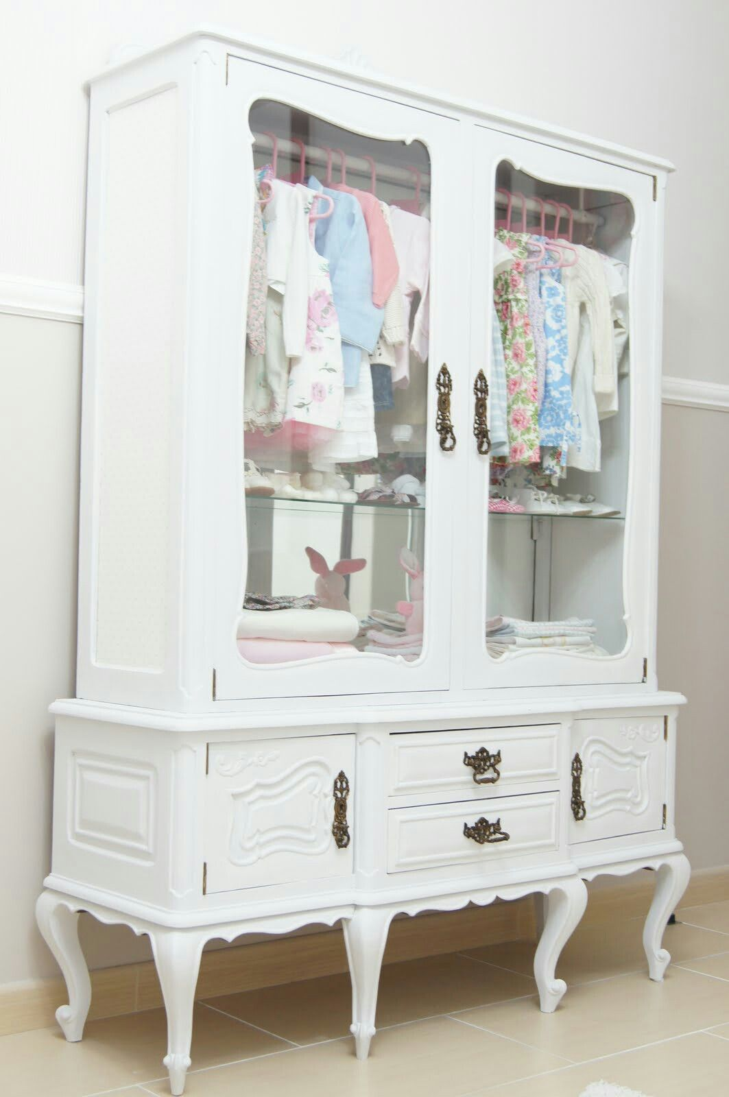 Repurpose A Vintage China Cabinet Into A Little Girlu0027s Clothing Armoire:  Paint A Updated Color + Add Rod For Hanging Clothes   Can Use Optional  Shelves For ...