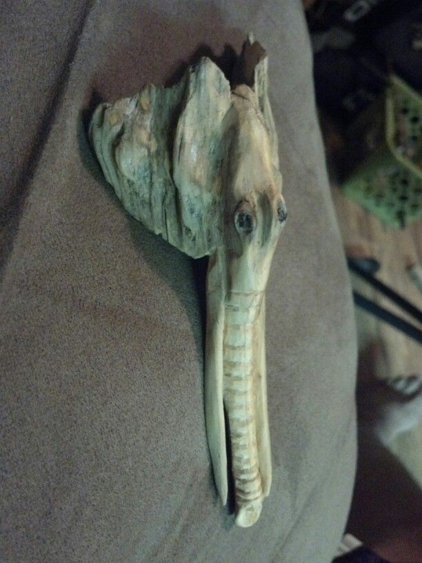 Seasoned pine knot carving of elephant. Kinda abstract. I just carved the shape in and tried to leave the natural shape of the pine knot on the ears. It had actually split around one side of what i carved the trunk on and it made a tusk when i shaped it in!!