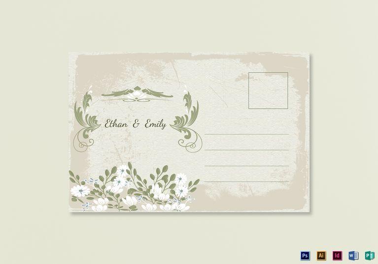 Vintage Wedding Post Card Template  Wedding Invitation Templates