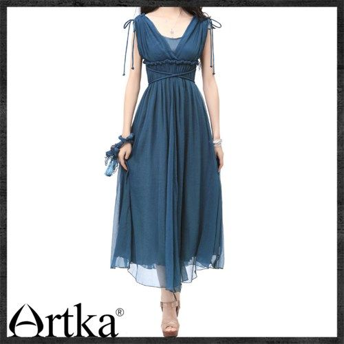 2cfa2963dc3e9 Artka Greece Sleeveless green Pleats Maxi swing Dress LA10237X ...