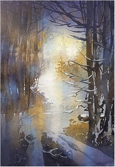 path through the snow by Thomas W. Schaller Watercolor ~ 22 inches x 15 inches