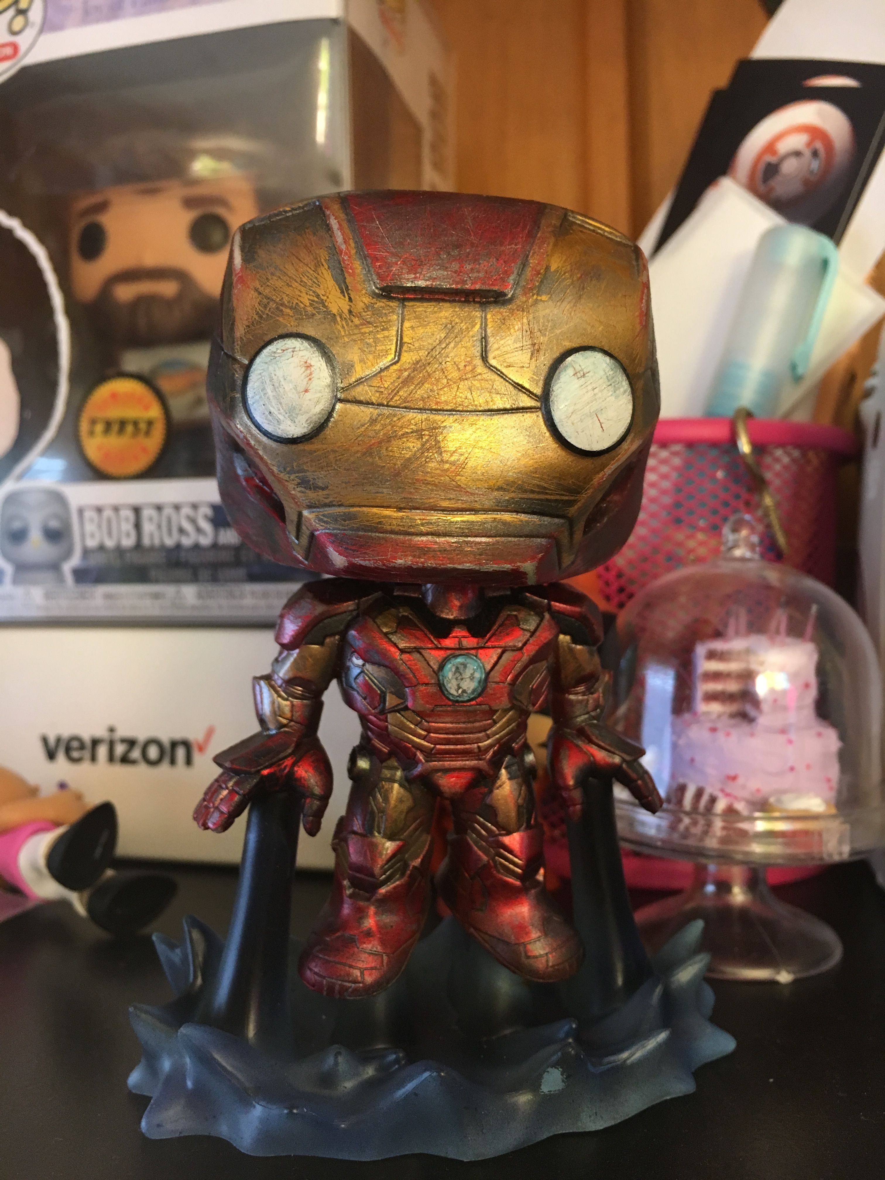 Battle Damaged Iron Man Funko Pop Figure Custom Painted Custom