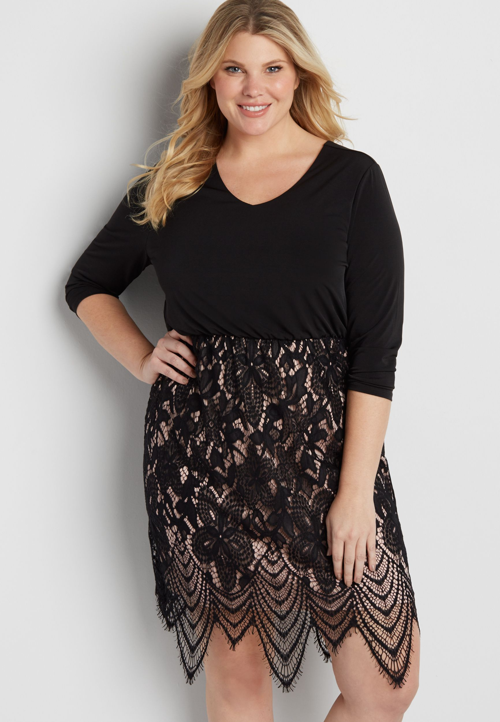 plus size dress with scalloped lace skirt (original price ...