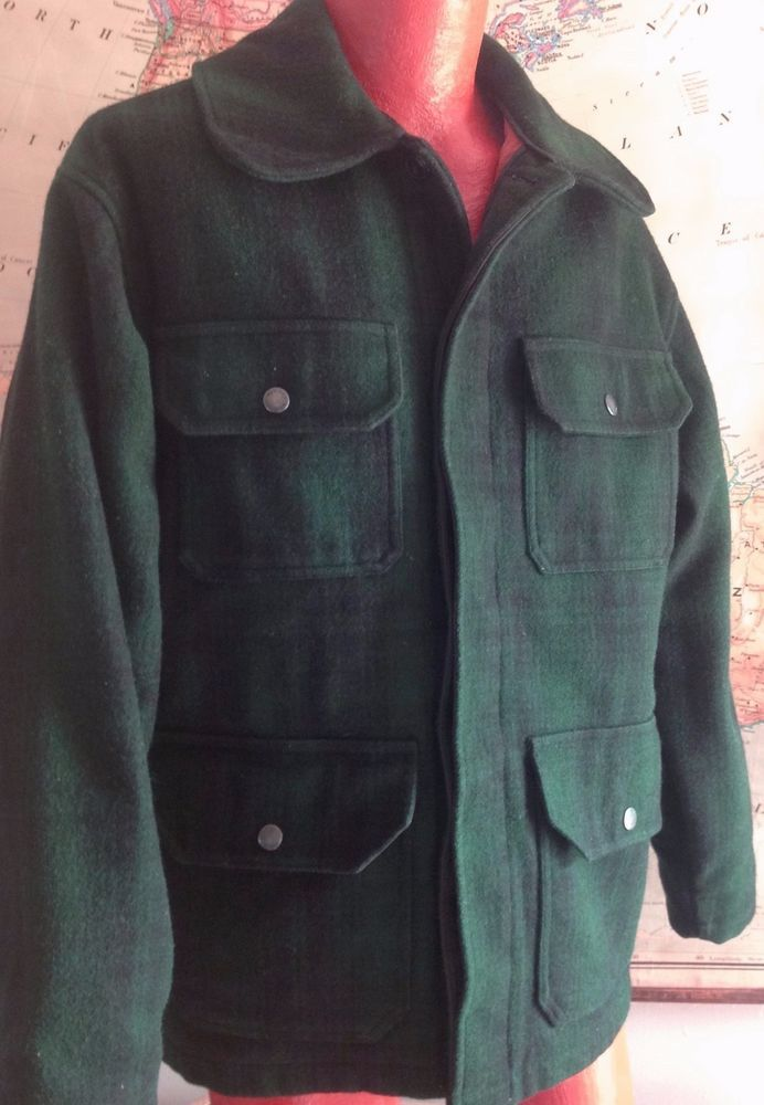 Woolrich Wool Vtg Hunt Medium Winter Green Jacket Coat Plaid Field q6FT6Od