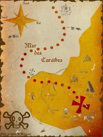 carte au trésor de pirate des caraibes Carte au trésor à imprimer   Carte au trésor, Anniversaire pirate