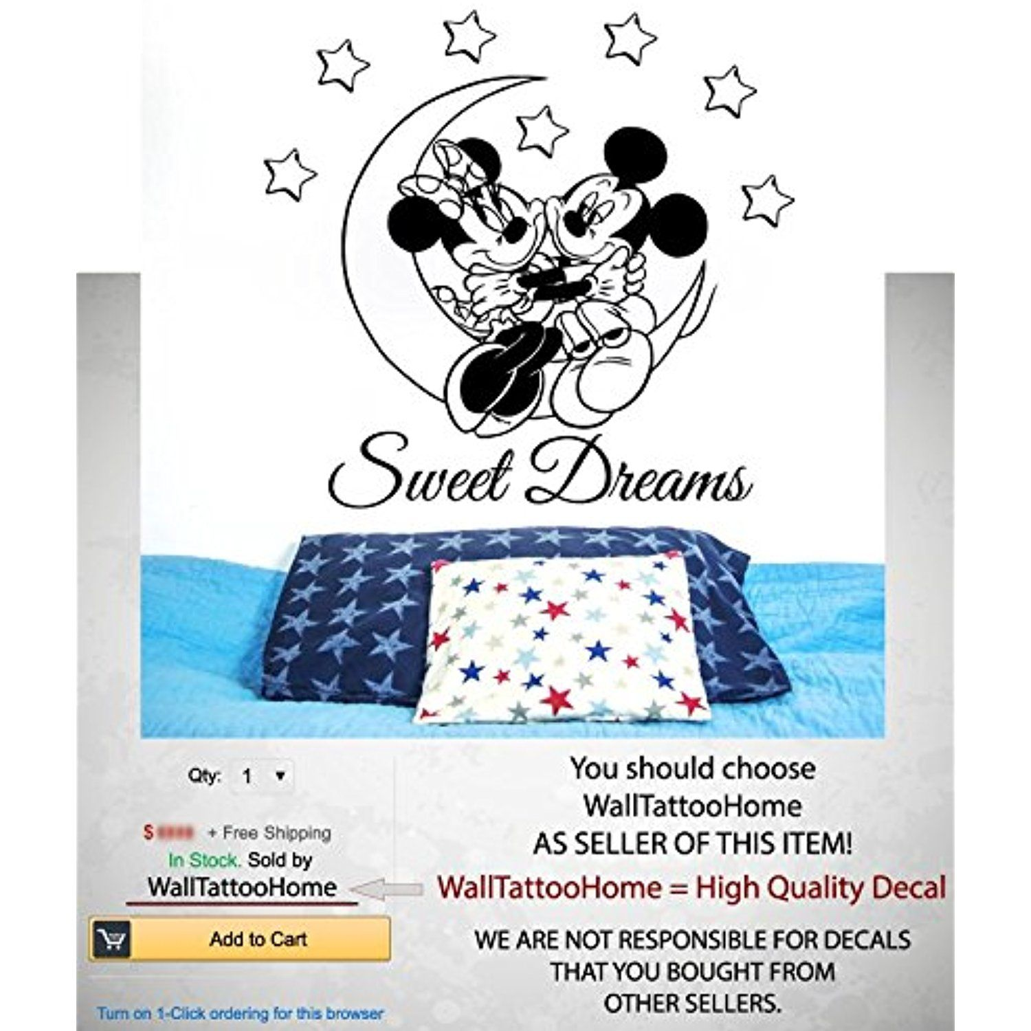 Sweet Dreams Wall Decals Minnie Mickey Mouse Vinyl Moon Stars Decal Sticker  Bedroom Nursery Children Kids Room Home Decor X    Check This Awesome  Product By ...