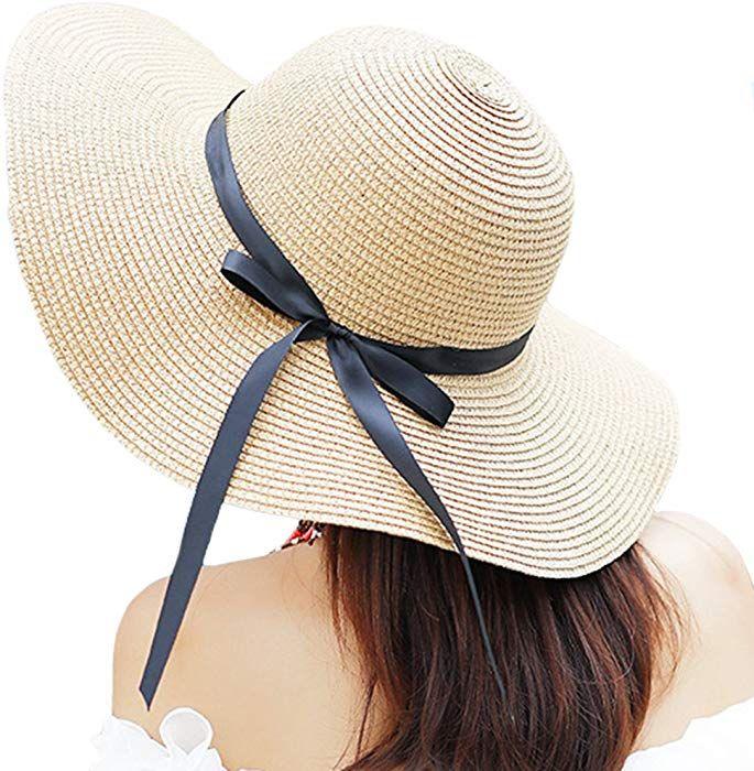 825273da Itopfox Women's Big Brim Sun Hat Floppy Foldable Bowknot Straw Hat Summer  Beach Hat Beige at Amazon Women's Clothing store: