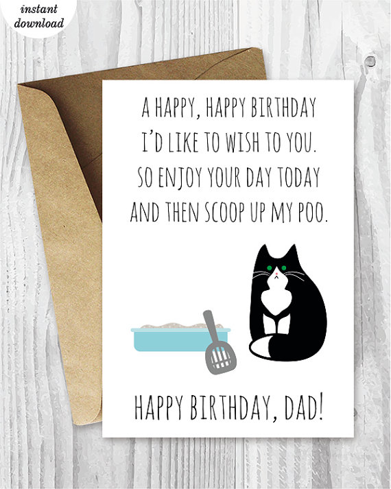 Printable Funny Birthday Cards, Black and White Cat Cards, Cat Dad - happy birthday certificate templates
