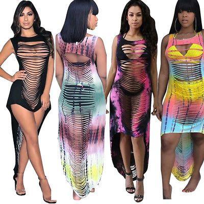 Womens Tie Dye Sleeveless Mini Dress Co-ord Set Summer Beach Casual Sundress New