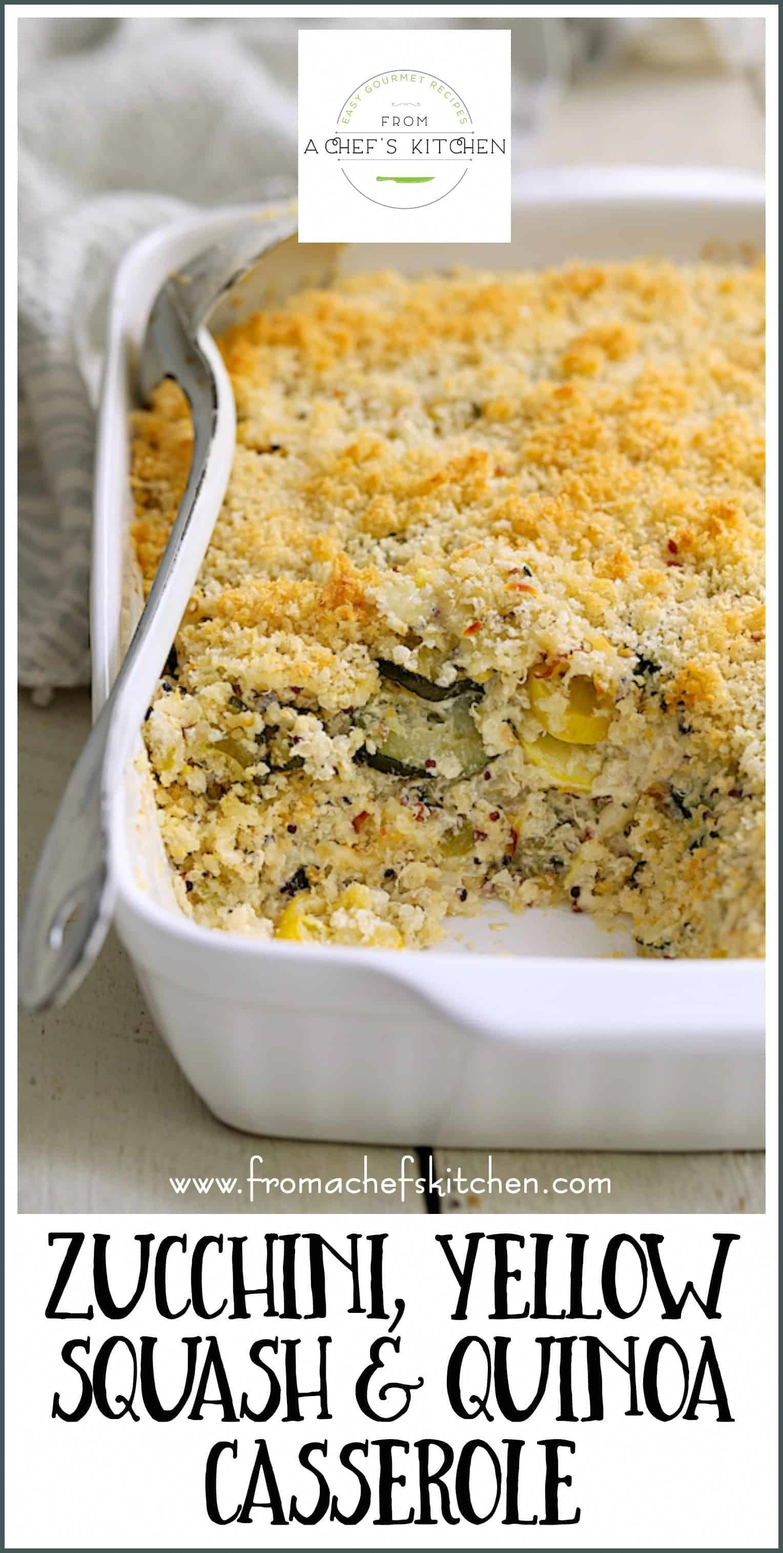 Zucchini Yellow Squash and Quinoa Casserole is a delicious way to use a summer bounty of zucchini and yellow squash either as a side dish or hearty meatless meal  Wi...