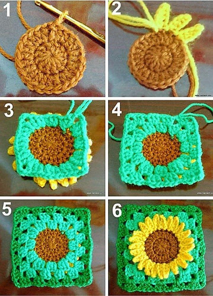 Easy Free Granny Square Patterns Crochet Sunflower Granny
