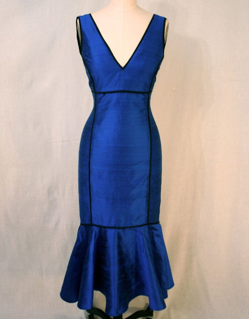 Sapphire Blue Vneck Tealength Shantung Dress with by kimeradesign, $498.00