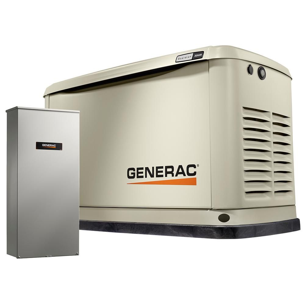 Generac 20 000 Watt Air Cooled Standby Generator With Whole House 200 Amp Automatic Transfer Switch 7039 Transfer Switch Protecting Your Home Wifi