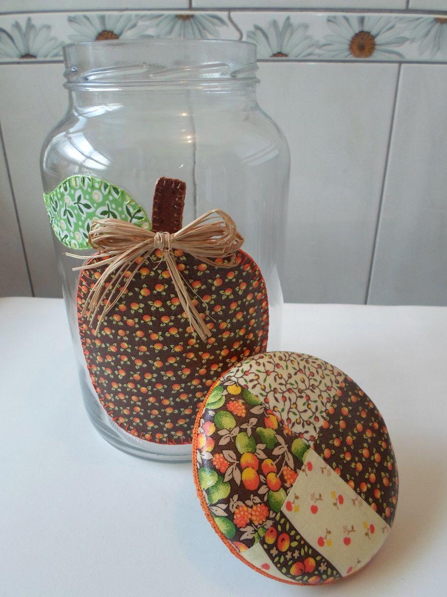 Pote de vidro utilitário e decorativo com aplicaç u00e3o de tecido caseado (bordado) no vidro e ta -> Decoracao Com Tampa De Vidro