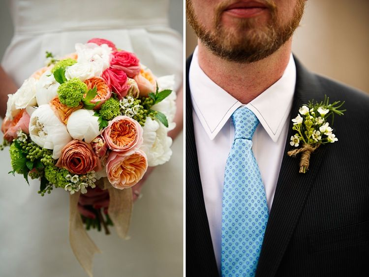 Bouquet: Juliet Garden Roses, Coral Ranunculus, Viburnum, Peonies, Spray  Roses,