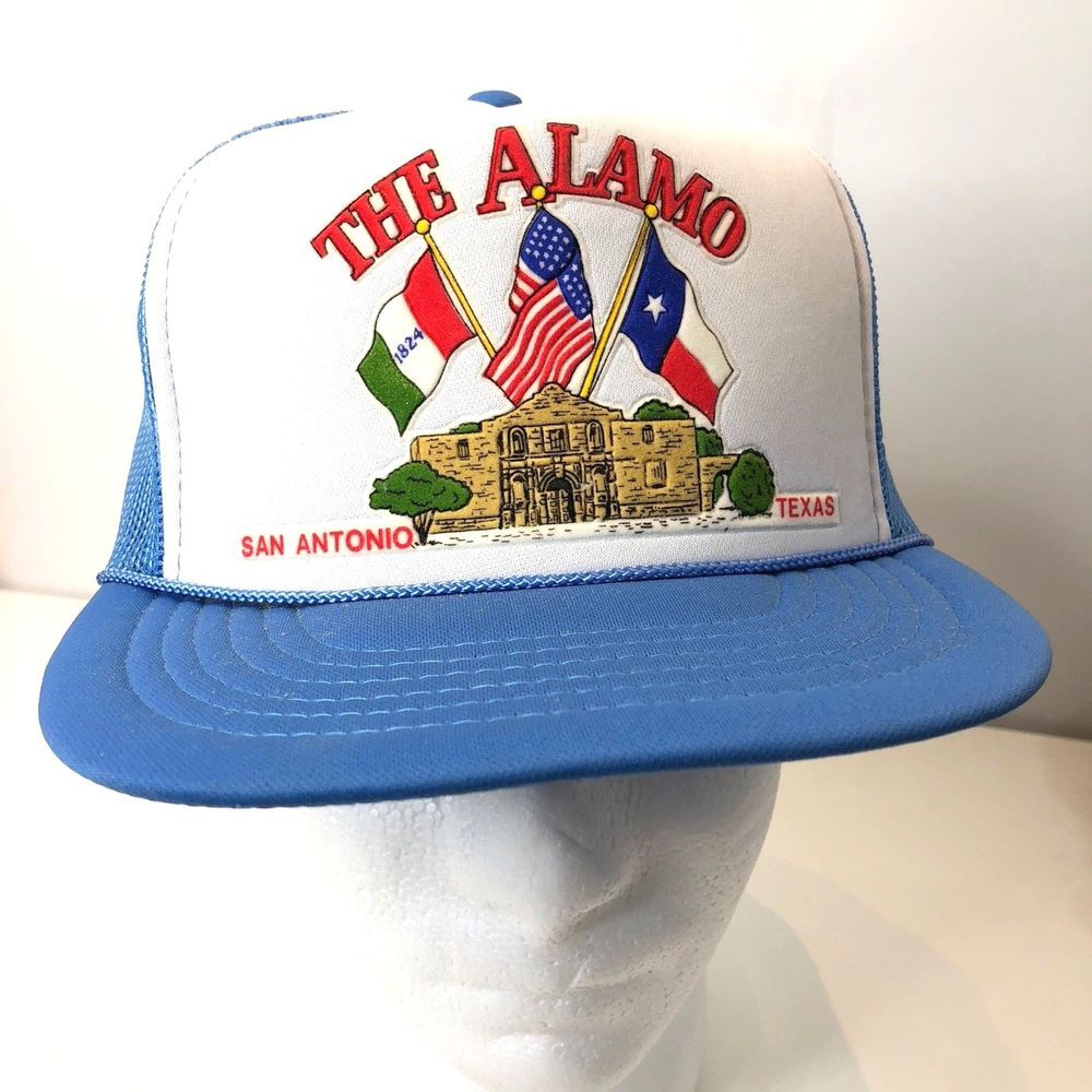 ab4395909 The Alamo Trucker Hat San Antonio Texas Mens Vintage Mesh Snapback ...