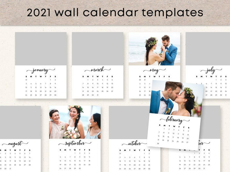 Wall Calendar 2021 Template Photo Calendar Personalized | Etsy in