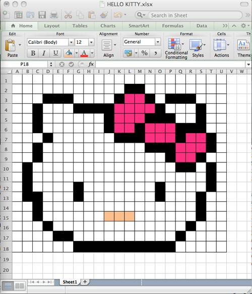 Hello Kitty in excel Art Tech Pinterest Hello kitty