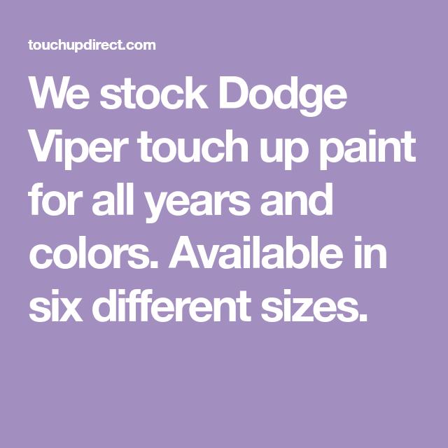 Dodge Viper Touch Up Paint | Paint Colors | Touch up paint