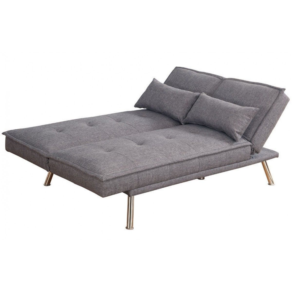 Modern Brown Or Grey Padded Fabric Click Clack Sofa Bed Fabric
