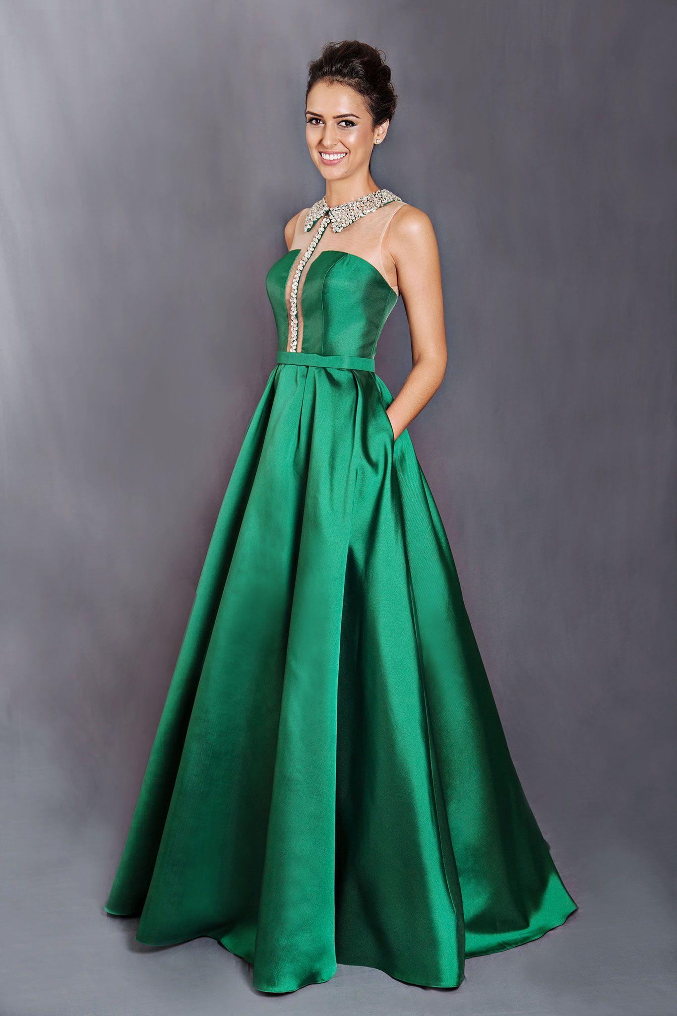 46a784850e Vestido verde longo com gola e bolsos - Silvia Fregonese