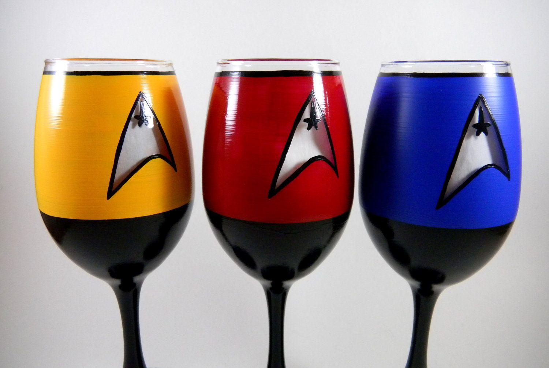 Star Trek Inspired Hand Painted Wine Glasses Hand Painted Wine Glasses Painted Wine Glasses Wine Bottle Glasses