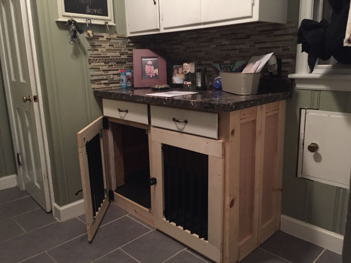Custom Built In Dog Kennel Done In Existing Cabinets Dog Rooms
