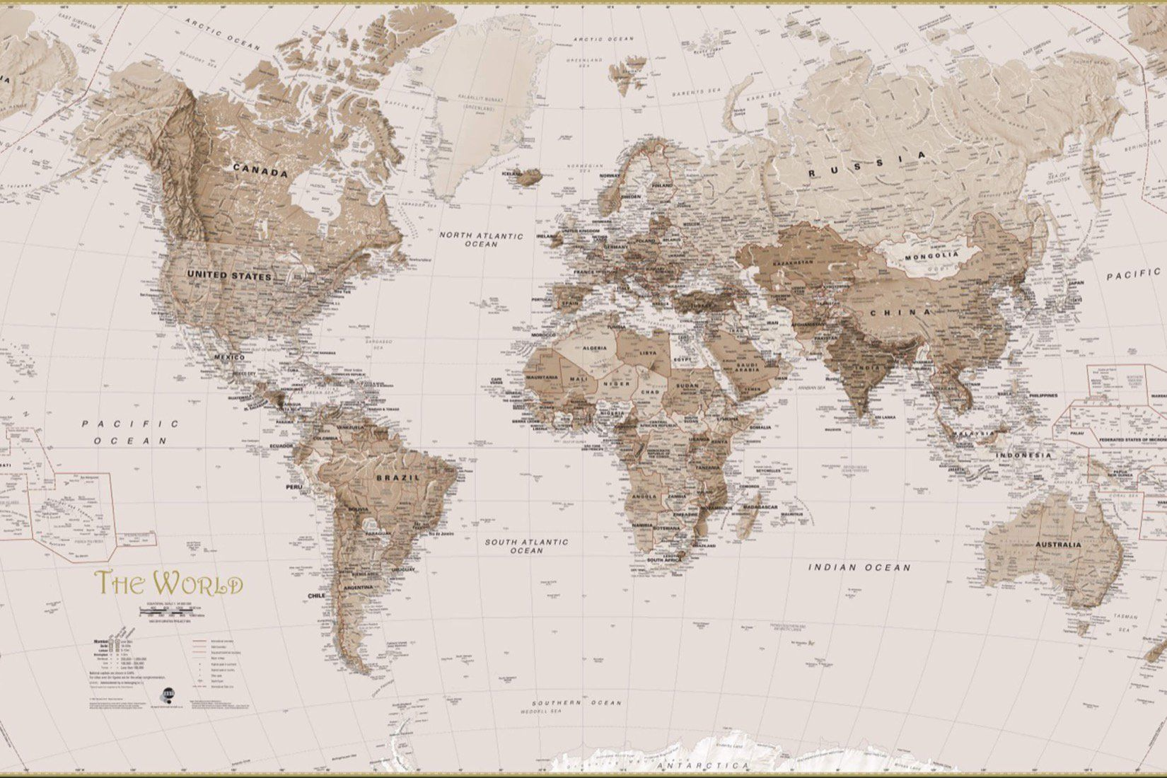 Earth tone world map mural wallpaper design services wall murals earth tone world map wall mural custom made to suit your wall size by the gumiabroncs Gallery