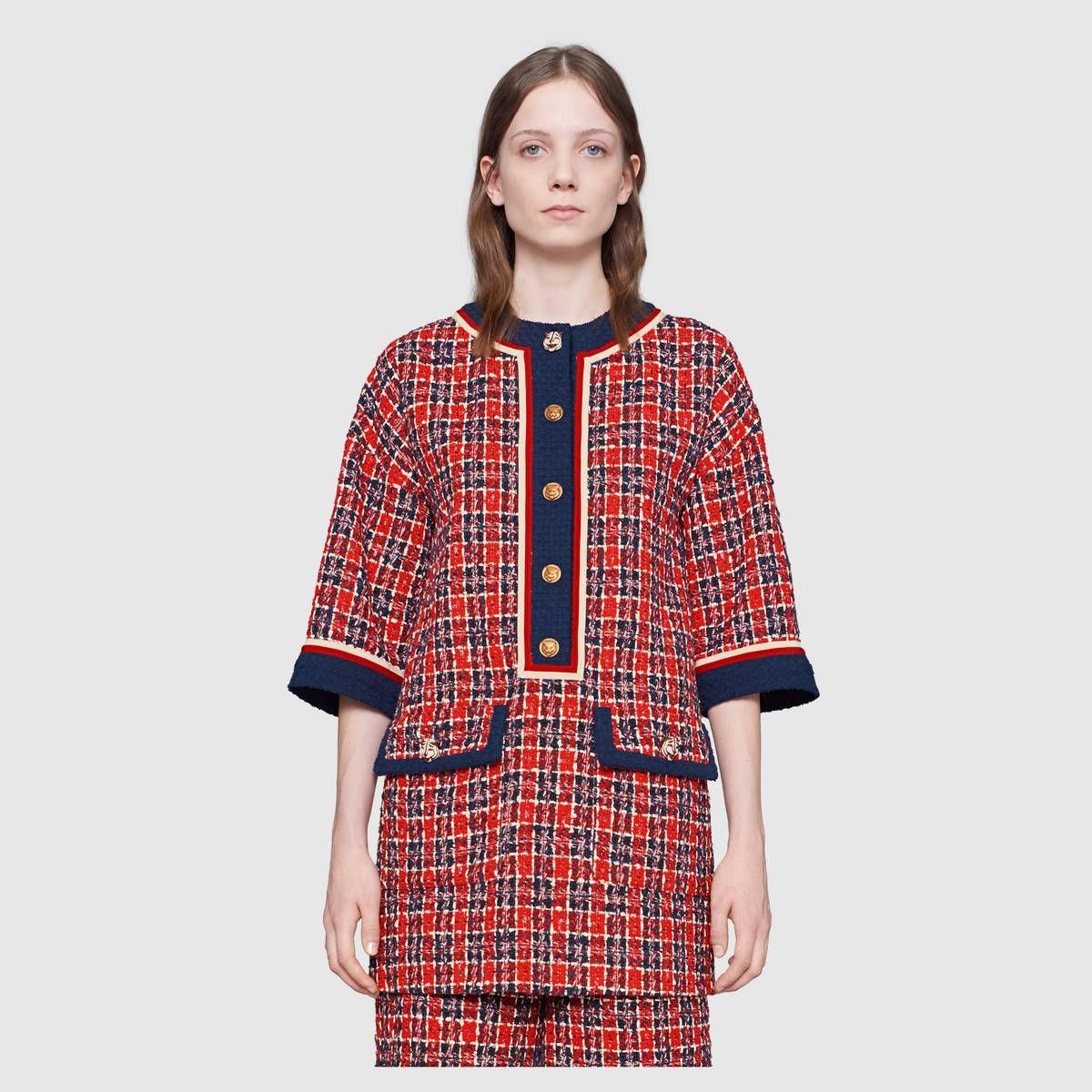 c8ced2f599c Tweed check tunic dress in Hibiscus red, blue and white tweed check with  contrast dark blue profiles   Gucci Women's Dresses