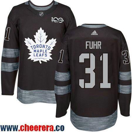 a4ce9f012 Men s Toronto Maple Leafs  31 Grant Fuhr Black 100th Anniversary Stitched  NHL 2017 adidas Hockey