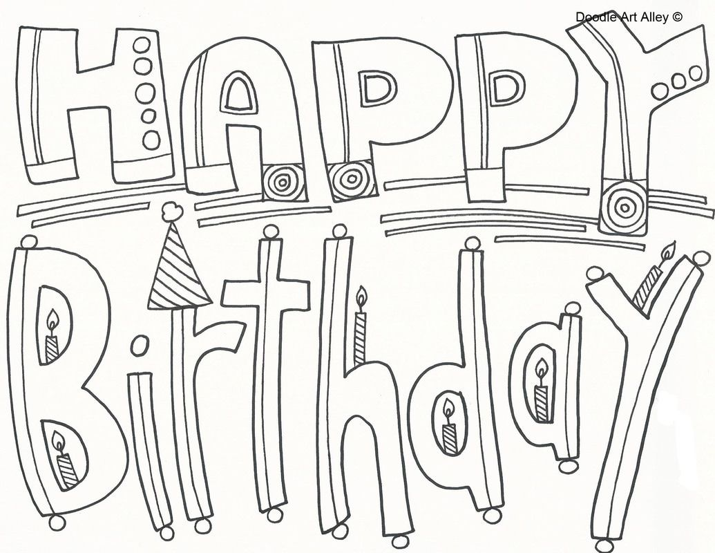 Birthday Coloring Pages - Doodle Art Alley in 2020 ...