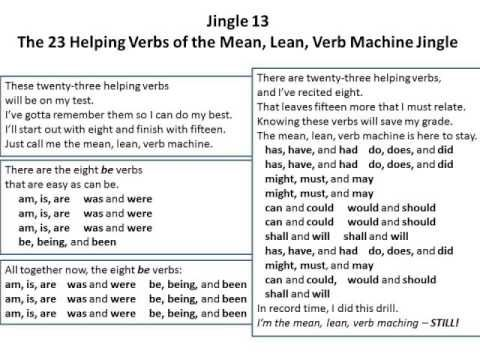 Jingle 13 The 23 Helping Verbs Of The Mean Lean Verb