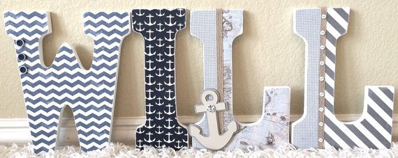 Nautical baby boy name wooden wall letters personalized baby nautical baby boy name wooden wall letters personalized baby gift custom name negle Images
