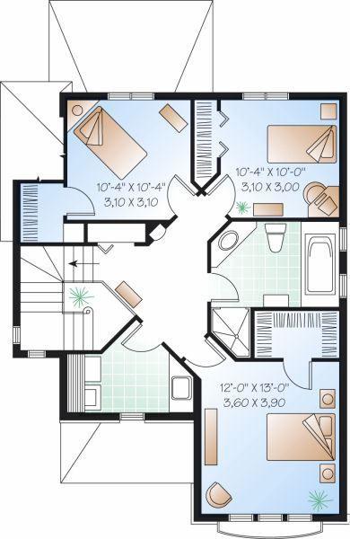 Plano Planta Alta Casa De 2 Pisos Y 3 Habitaciones Planos De Casas Casas De Dos Pisos Planos Para Construir Casas