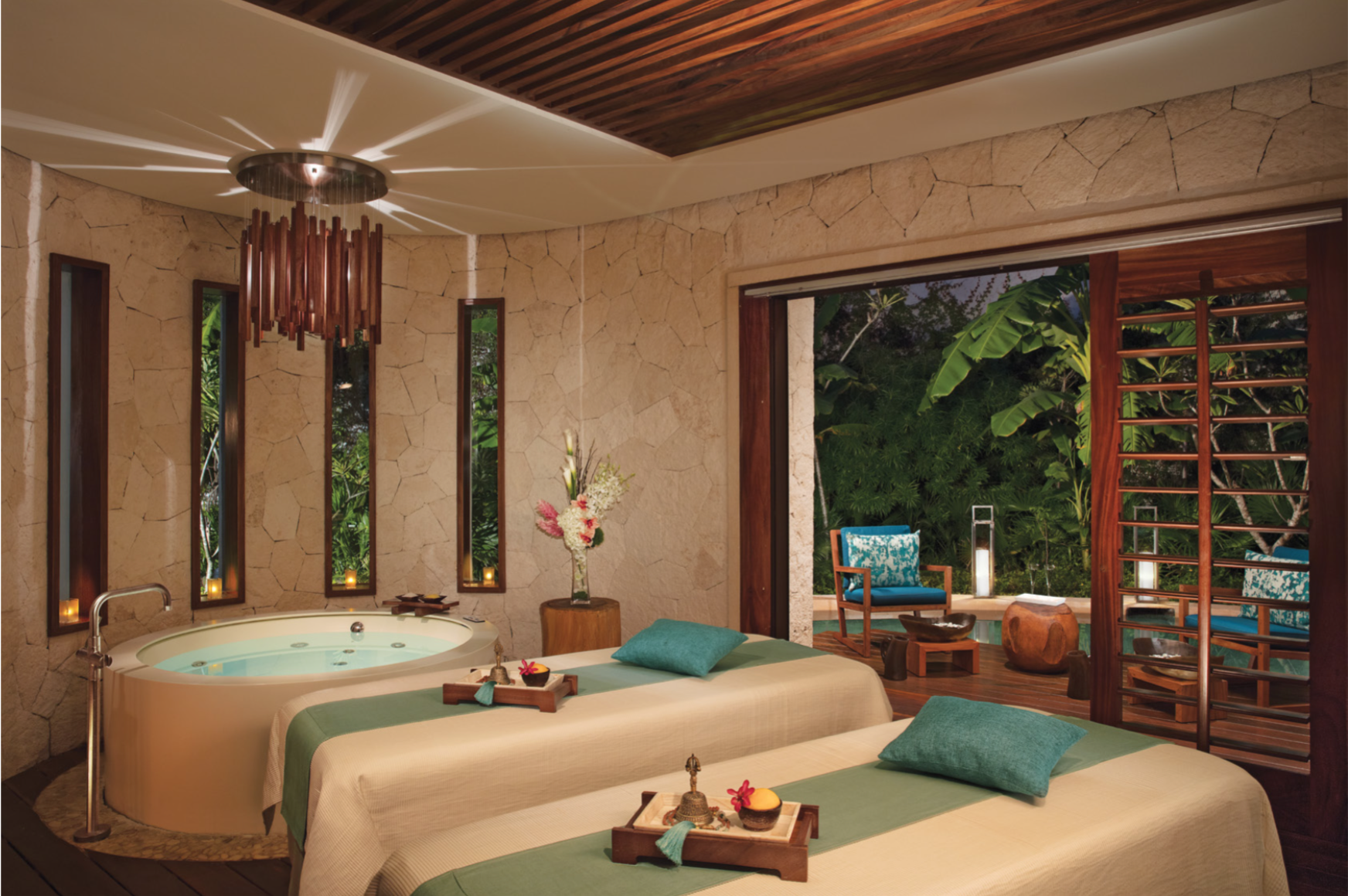 Escape to a private couples spa cabin at Secrets Akumal for a day of  pampering and relaxation with the one you love! | Chill out room, House  styles, Couple room