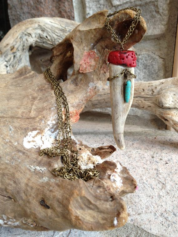 Antler Tip And Red Coral Necklace by TheFreezingSquirrel on Etsy, $59.00