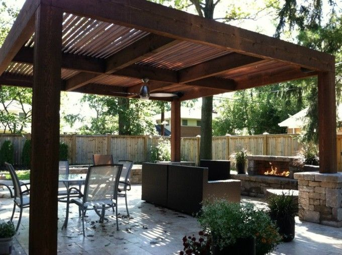 Contemporary Outdoor Living Space With Fireplace And Alfresco Dining Set Idea Plus Elegant Square Wooden Pergola Design