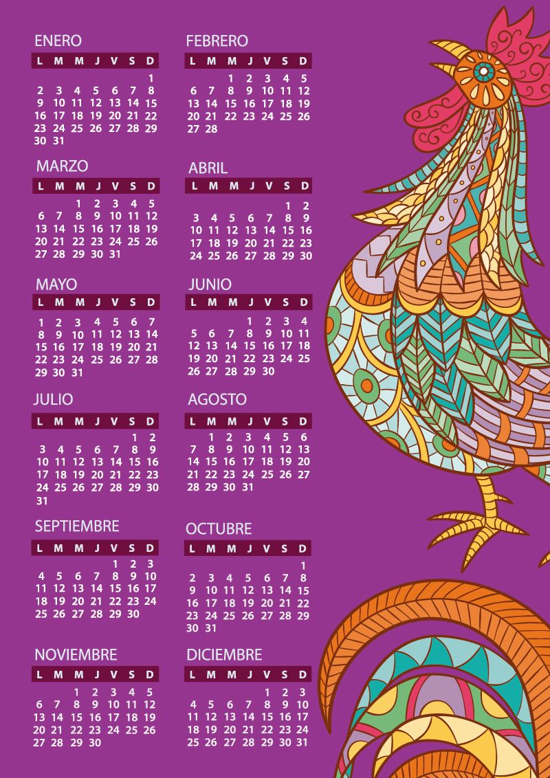 Calendario 2017 para imprimir con dibujo de gallo  julio