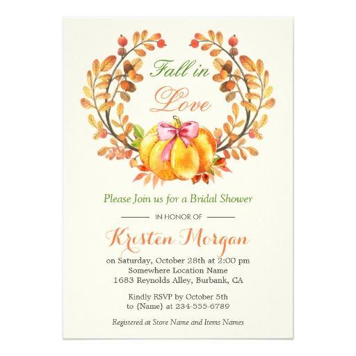 Fall in Love Bridal Shower Autumn Pumpkin Floral Card